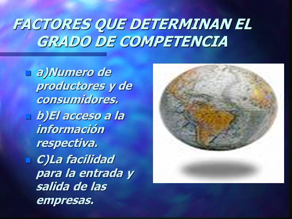 FACTORES QUE DETERMINAN EL GRADO DE COMPETENCIA n a)Numero de productores y de consumidores.