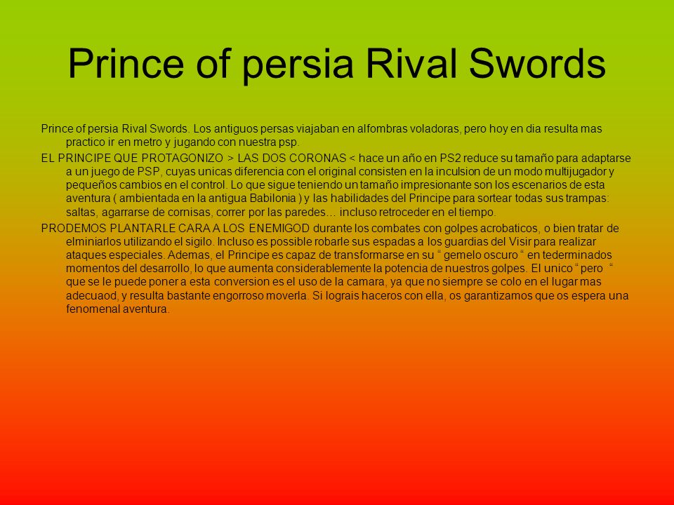 Prince of persia Rival Swords Prince of persia Rival Swords.