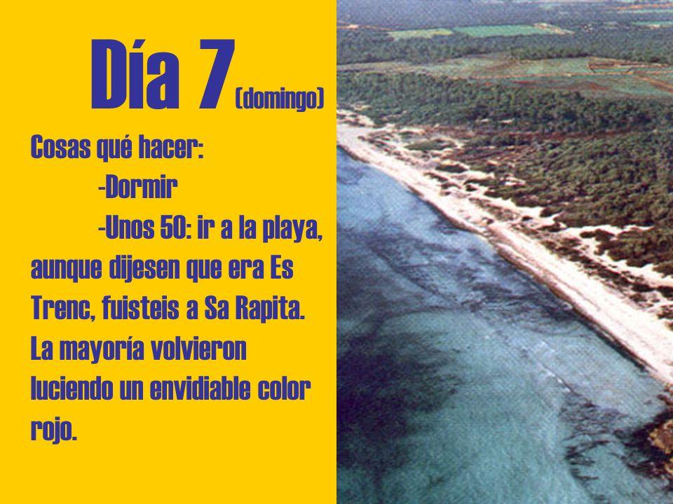 Día 7 (domingo) Cosas qué hacer: -Dormir -Unos 50: ir a la playa, aunque dijesen que era Es Trenc, fuisteis a Sa Rapita.