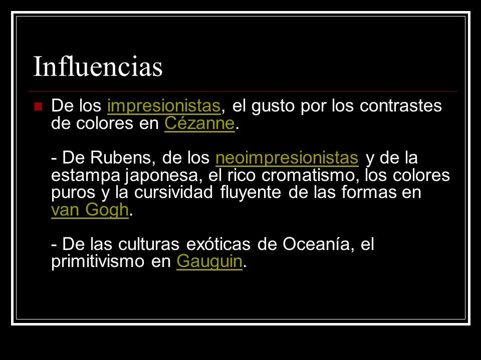 Influencias De los impresionistas, el gusto por los contrastes de colores en Cézanne. - De Rubens, de los neoimpresionistas y de la estampa japonesa,