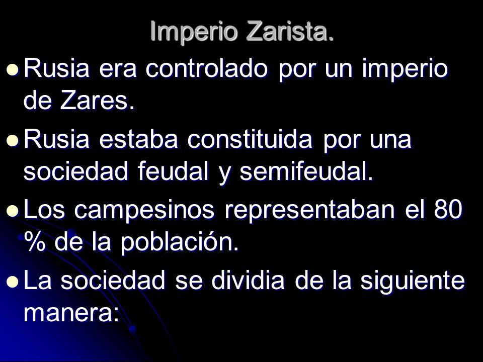 Imperio Zarista. Rusia era controlado por un imperio de Zares. Rusia era controlado por un imperio de Zares. Rusia estaba constituida por una sociedad