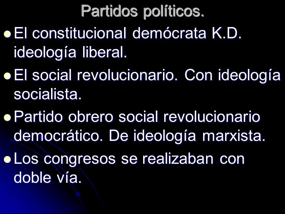 Partidos políticos. El constitucional demócrata K.D. ideología liberal. El constitucional demócrata K.D. ideología liberal. El social revolucionario.