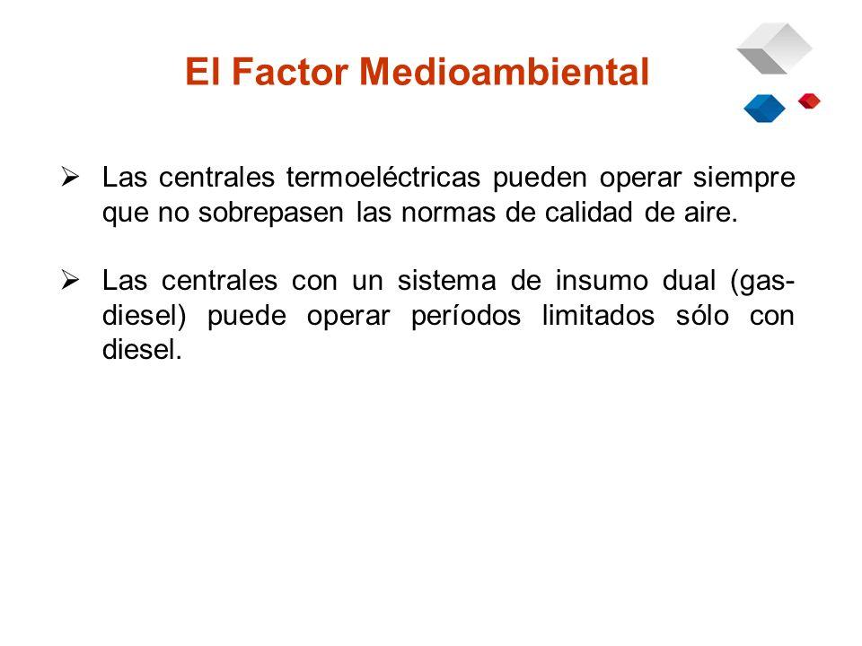 El Factor Medioambiental Las centrales termoeléctricas pueden operar siempre que no sobrepasen las normas de calidad de aire.