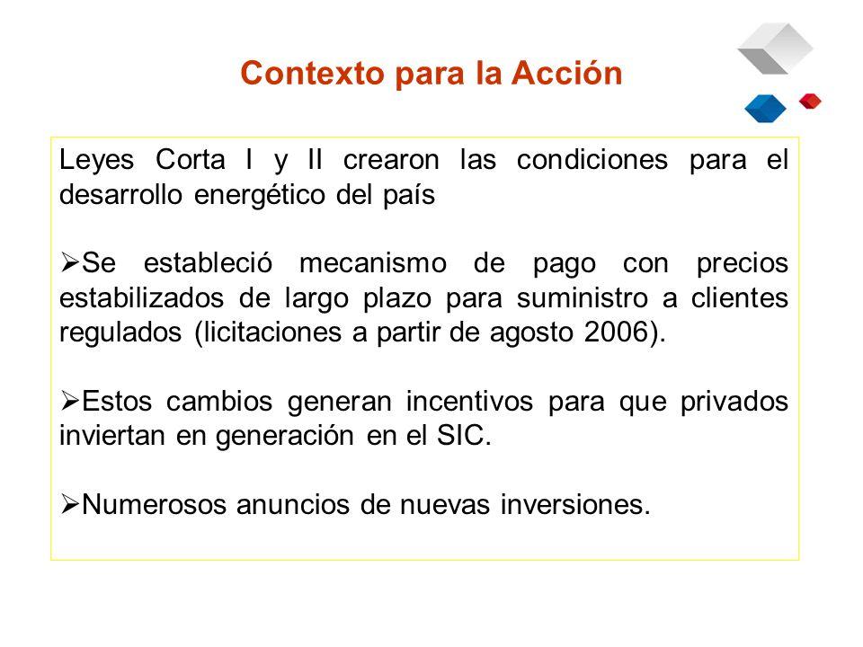 Contexto para la Acción Leyes Corta I y II crearon las condiciones para el desarrollo energético del país Se estableció mecanismo de pago con precios estabilizados de largo plazo para suministro a clientes regulados (licitaciones a partir de agosto 2006).