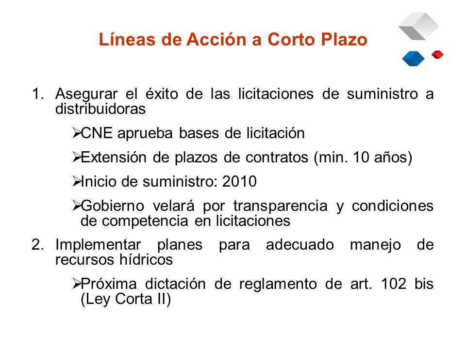 1.Asegurar el éxito de las licitaciones de suministro a distribuidoras CNE aprueba bases de licitación Extensión de plazos de contratos (min.