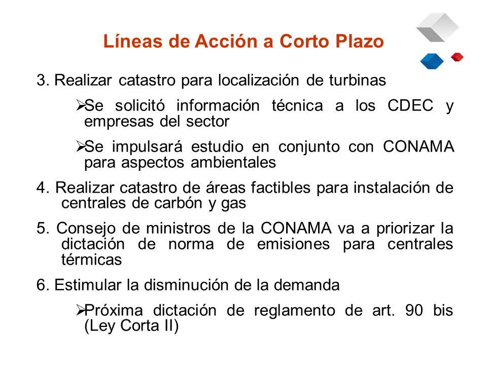 3. Realizar catastro para localización de turbinas Se solicitó información técnica a los CDEC y empresas del sector Se impulsará estudio en conjunto c