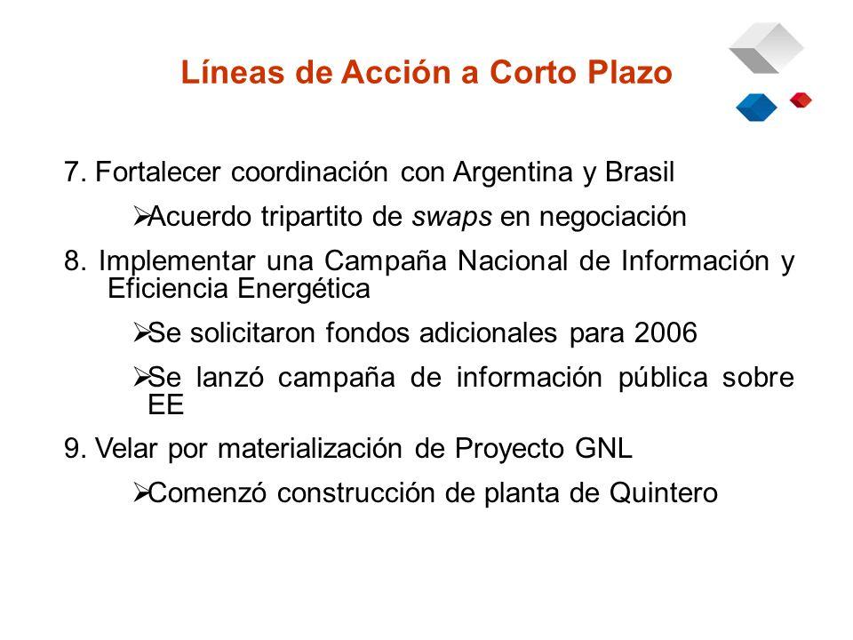 7. Fortalecer coordinación con Argentina y Brasil Acuerdo tripartito de swaps en negociación 8.