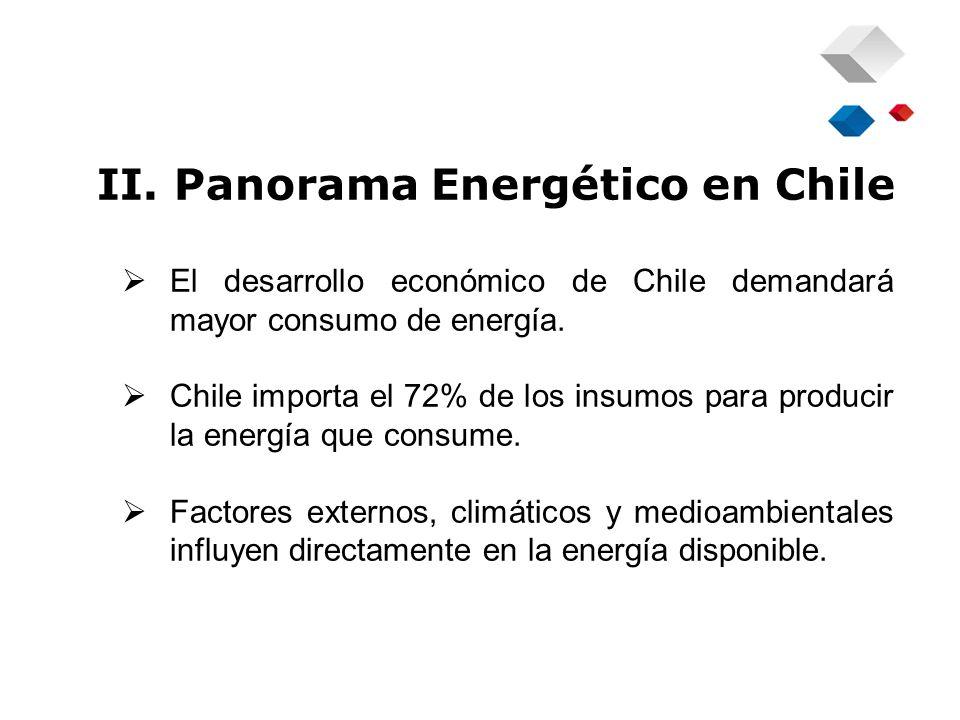 II. Panorama Energético en Chile El desarrollo económico de Chile demandará mayor consumo de energía. Chile importa el 72% de los insumos para produci