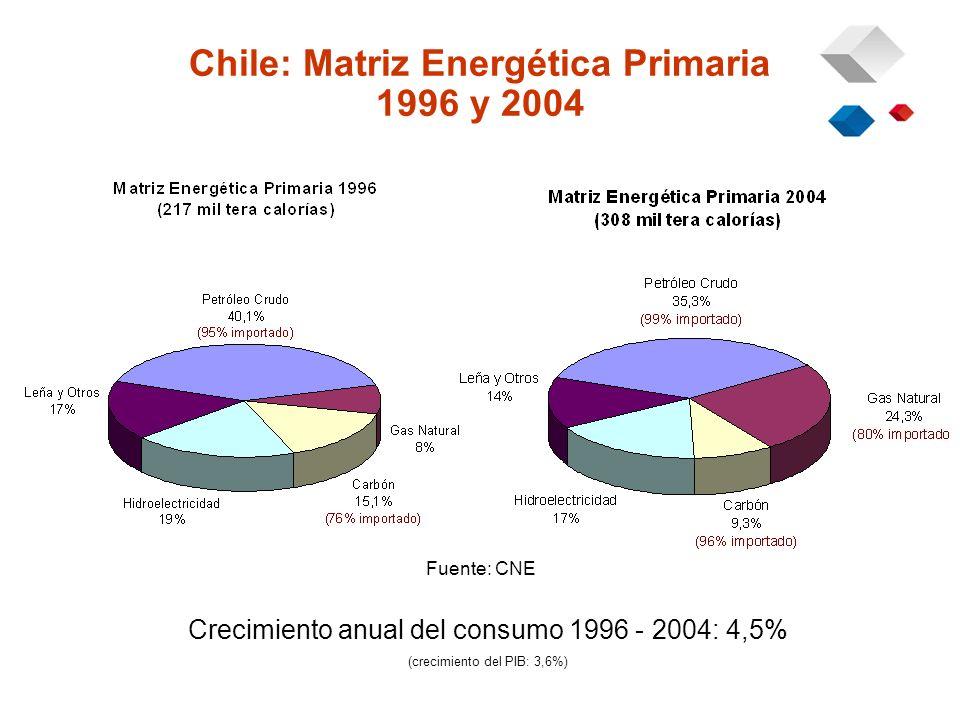 Chile: Matriz Energética Primaria 1996 y 2004 Crecimiento anual del consumo 1996 - 2004: 4,5% (crecimiento del PIB: 3,6%) Fuente: CNE