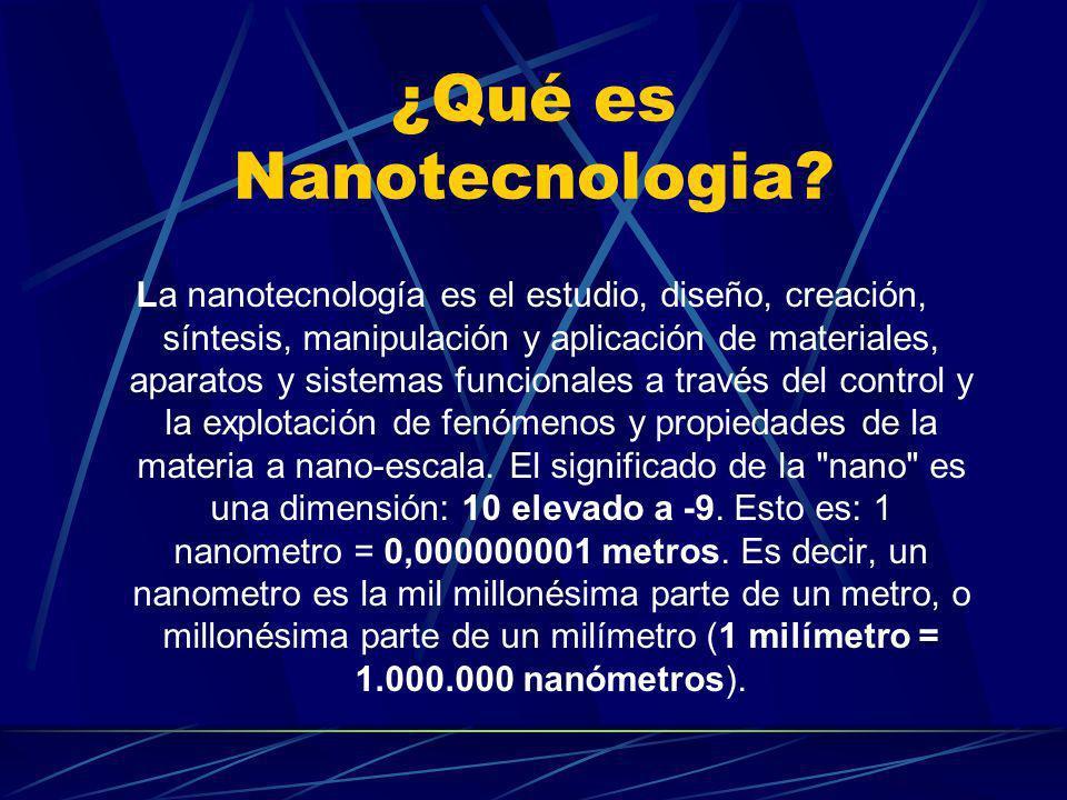 ¿Qué es Nanotecnologia? La nanotecnología es el estudio, diseño, creación, síntesis, manipulación y aplicación de materiales, aparatos y sistemas func