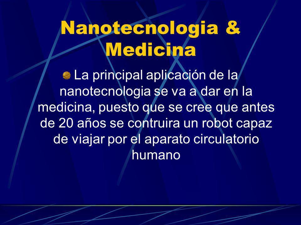 Nanotecnologia & Medicina La principal aplicación de la nanotecnologia se va a dar en la medicina, puesto que se cree que antes de 20 años se contruir