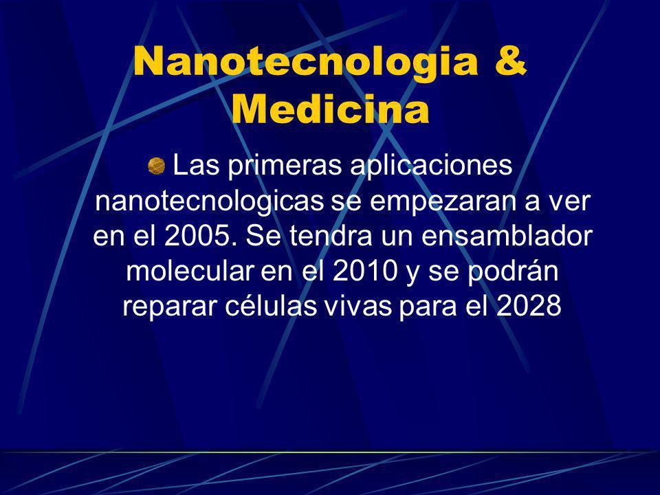 Nanotecnologia & Medicina Las primeras aplicaciones nanotecnologicas se empezaran a ver en el 2005. Se tendra un ensamblador molecular en el 2010 y se