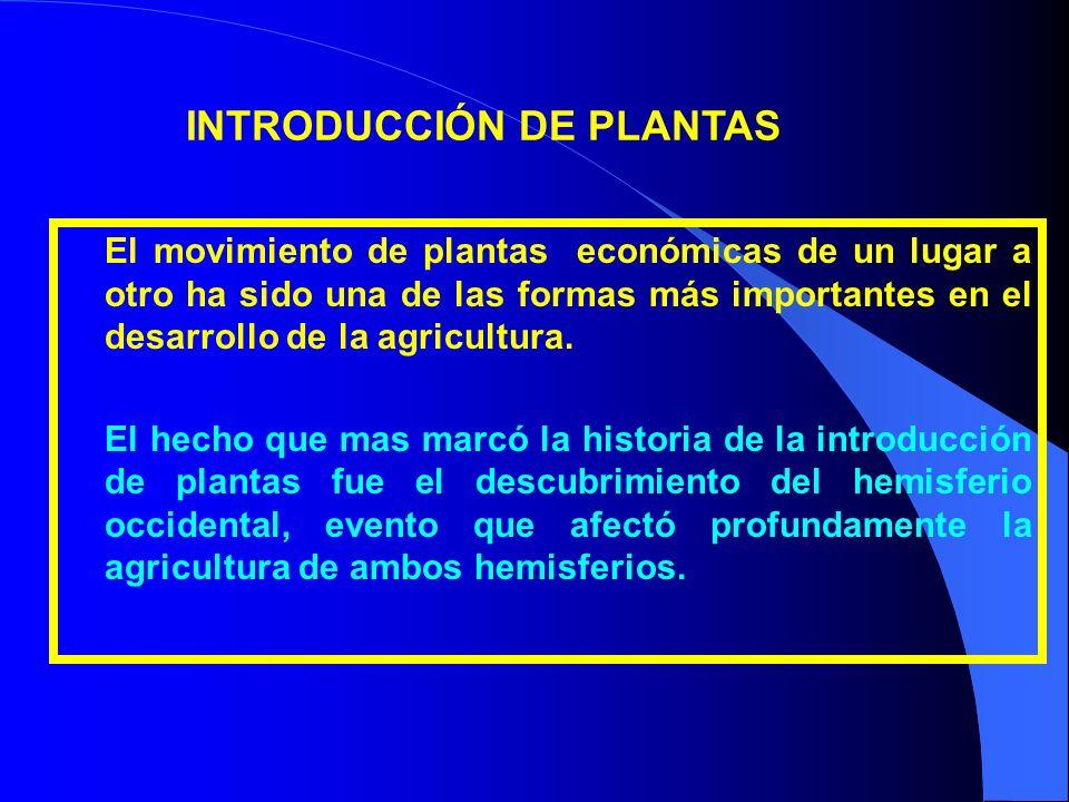 El movimiento de plantas económicas de un lugar a otro ha sido una de las formas más importantes en el desarrollo de la agricultura. El hecho que mas