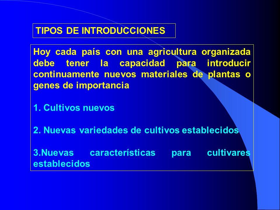 TIPOS DE INTRODUCCIONES Hoy cada país con una agricultura organizada debe tener la capacidad para introducir continuamente nuevos materiales de planta