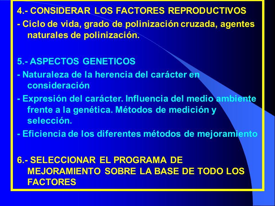4.- CONSIDERAR LOS FACTORES REPRODUCTIVOS - Ciclo de vida, grado de polinización cruzada, agentes naturales de polinización. 5.- ASPECTOS GENETICOS -
