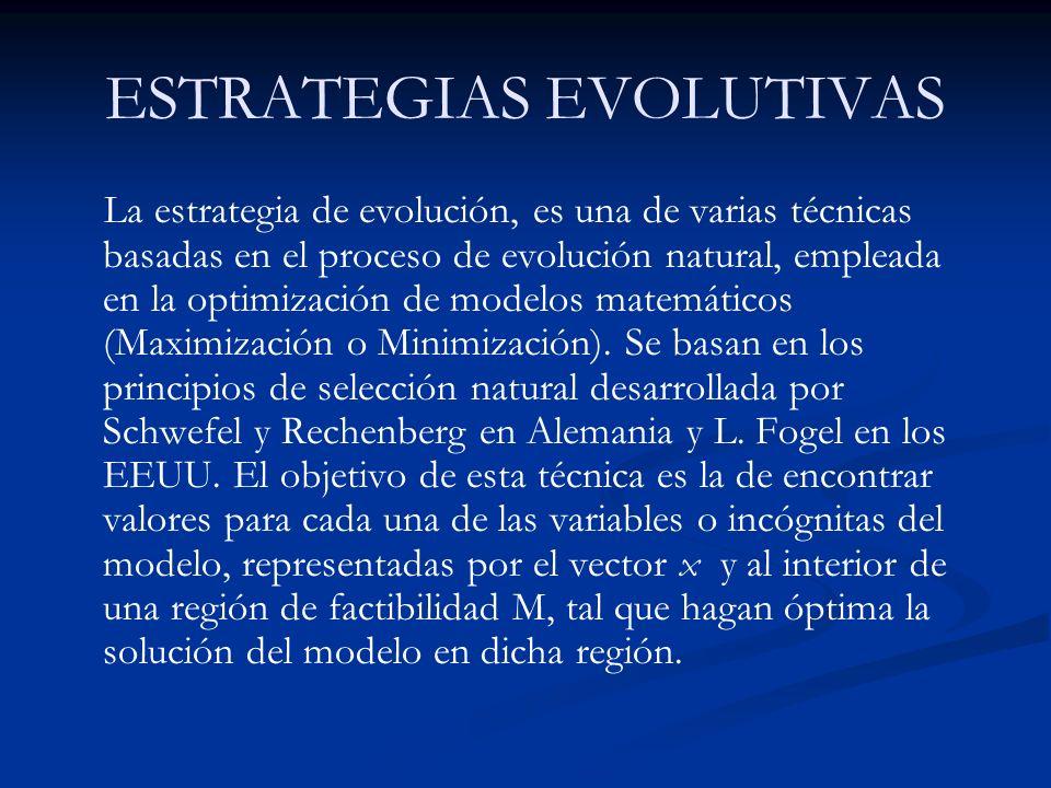 ESTRATEGIAS EVOLUTIVAS La estrategia de evolución, es una de varias técnicas basadas en el proceso de evolución natural, empleada en la optimización de modelos matemáticos (Maximización o Minimización).