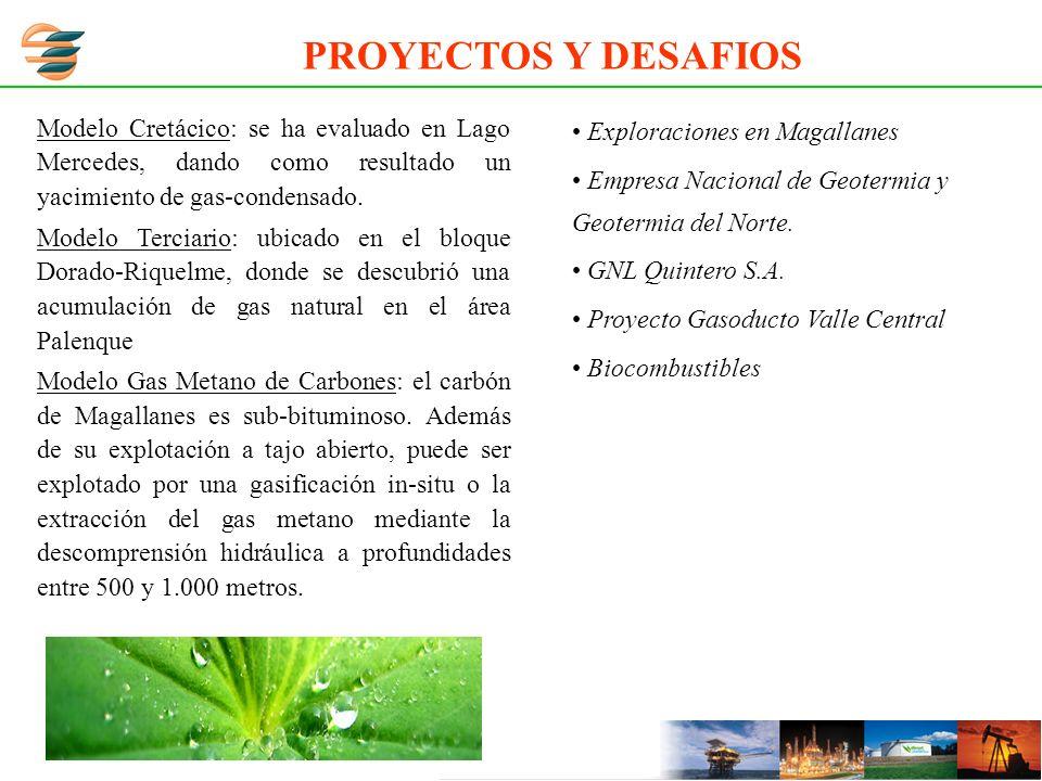 Modelo Cretácico: se ha evaluado en Lago Mercedes, dando como resultado un yacimiento de gas-condensado. Modelo Terciario: ubicado en el bloque Dorado