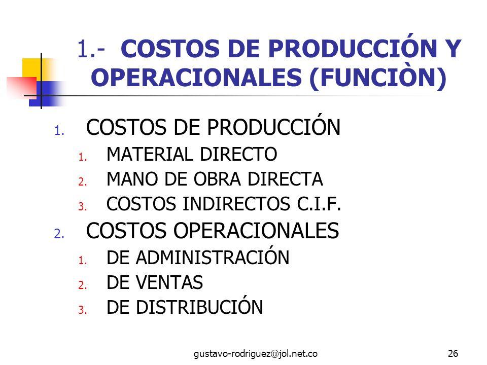 gustavo-rodriguez@jol.net.co26 1.- COSTOS DE PRODUCCIÓN Y OPERACIONALES (FUNCIÒN) 1.
