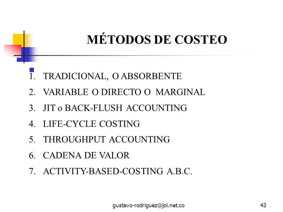gustavo-rodriguez@jol.net.co43 MÉTODOS DE COSTEO 1.TRADICIONAL, O ABSORBENTE 2.VARIABLE O DIRECTO O MARGINAL 3.JIT o BACK-FLUSH ACCOUNTING 4.LIFE-CYCLE COSTING 5.THROUGHPUT ACCOUNTING 6.CADENA DE VALOR 7.ACTIVITY-BASED-COSTING A.B.C.