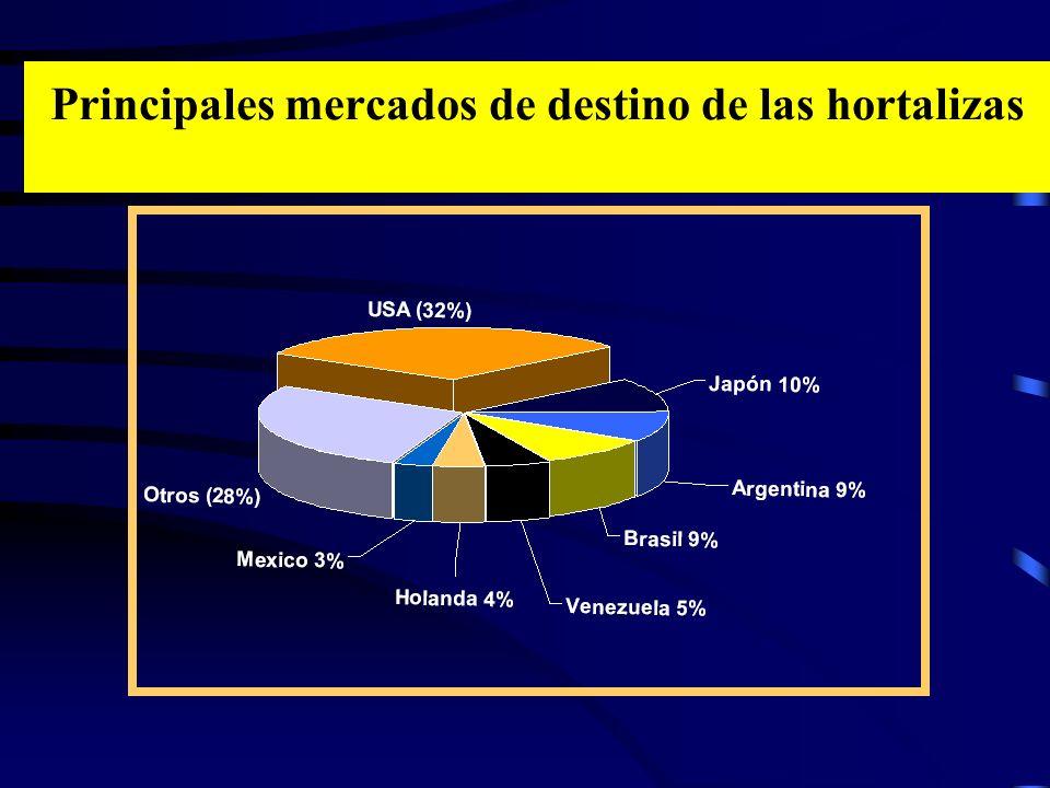Principales mercados de destino de las hortalizas