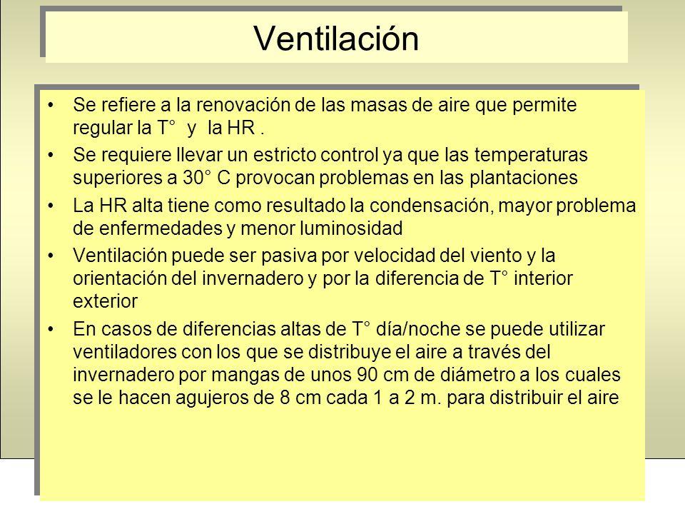 Ventilación Se refiere a la renovación de las masas de aire que permite regular la T° y la HR. Se requiere llevar un estricto control ya que las tempe
