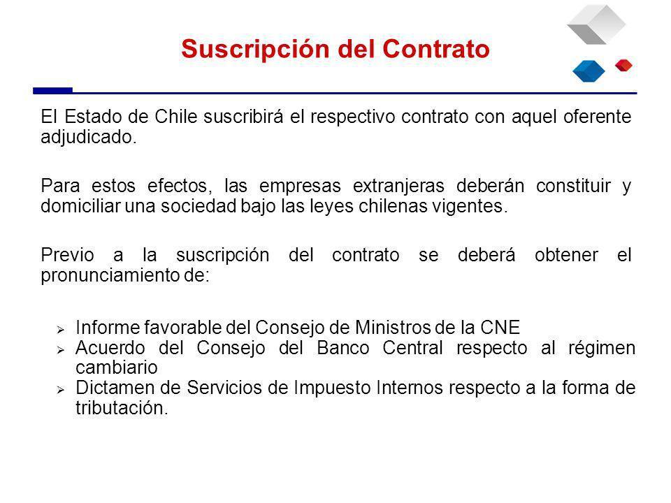 El Estado de Chile suscribirá el respectivo contrato con aquel oferente adjudicado.