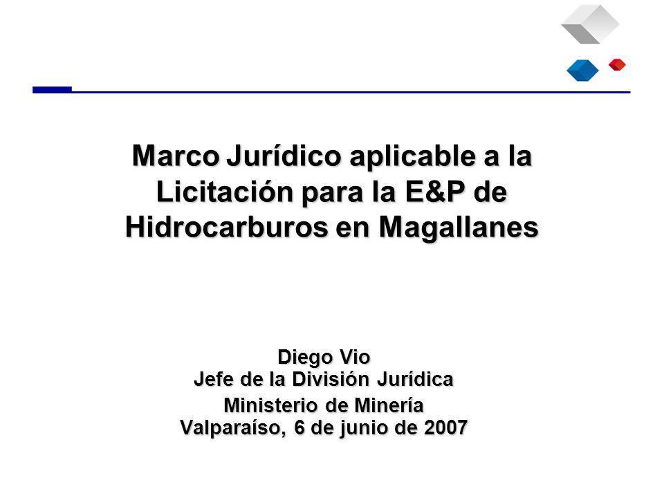 Diego Vio Jefe de la División Jurídica Ministerio de Minería Valparaíso, 6 de junio de 2007 Marco Jurídico aplicable a la Licitación para la E&P de Hidrocarburos en Magallanes