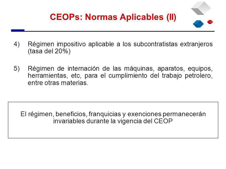4)Régimen impositivo aplicable a los subcontratistas extranjeros (tasa del 20%) 5)Régimen de internación de las máquinas, aparatos, equipos, herramientas, etc, para el cumplimiento del trabajo petrolero, entre otras materias.