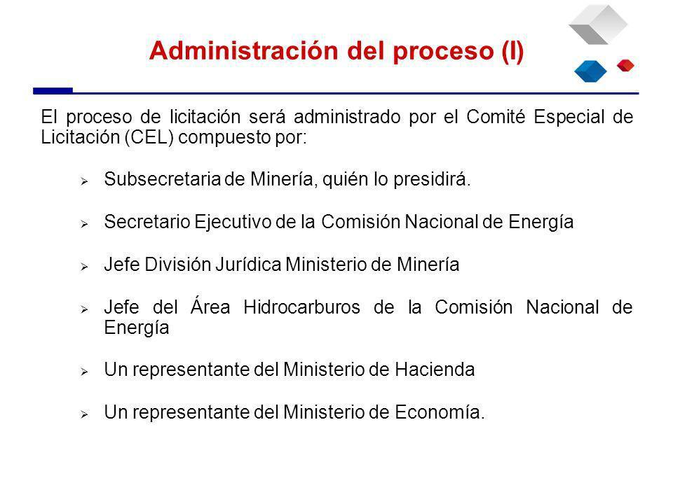 El proceso de licitación será administrado por el Comité Especial de Licitación (CEL) compuesto por: Subsecretaria de Minería, quién lo presidirá.