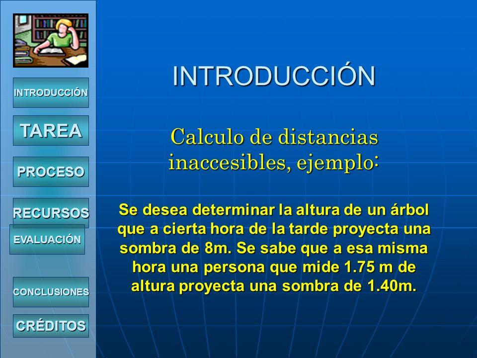 INTRODUCCIÓN Calculo de distancias inaccesibles, ejemplo: Se desea determinar la altura de un árbol que a cierta hora de la tarde proyecta una sombra