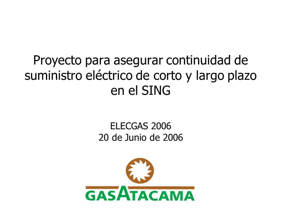 2 Situación actual de suministro de gas en el SING Suministro de gas de actuales productores argentinos a Chile continuará decreciendo, y no se ve sostenible después de 2008 si ellos no alcanzan acuerdos con el gobierno argentino en relación a precios y extensión de concesiones.