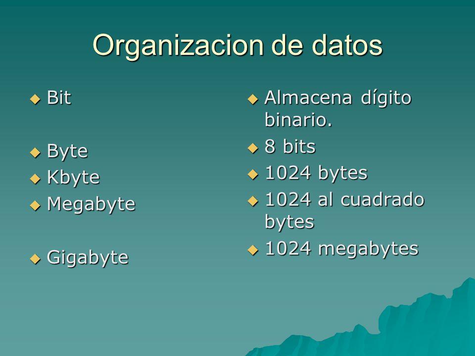 Organizacion de datos Bit Bit Byte Byte Kbyte Kbyte Megabyte Megabyte Gigabyte Gigabyte Almacena dígito binario. Almacena dígito binario. 8 bits 8 bit