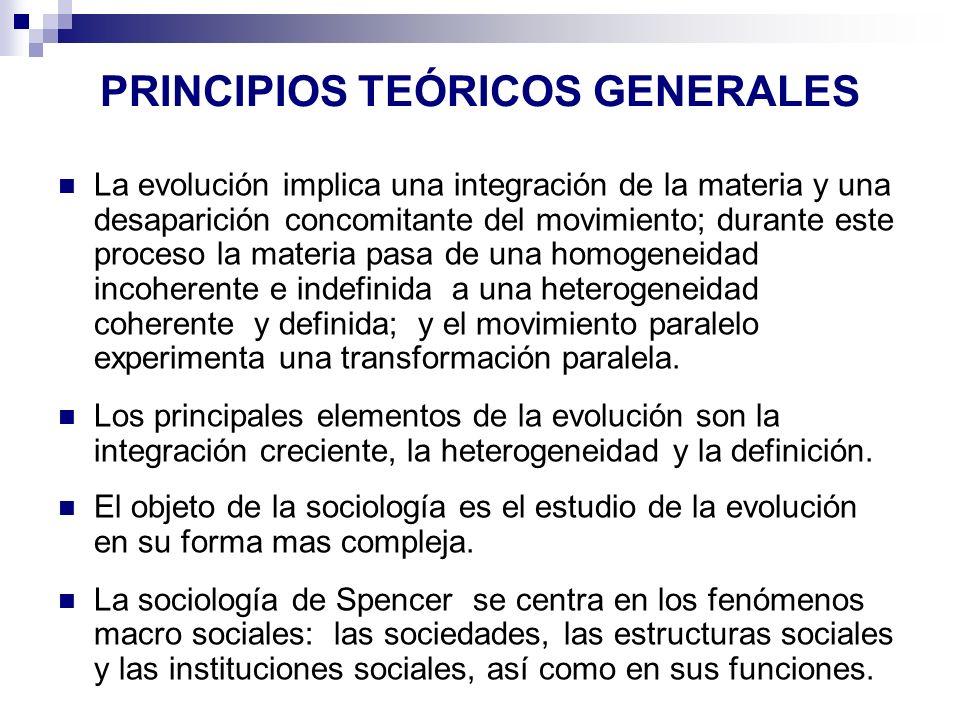 PRINCIPIOS TEÓRICOS GENERALES La evolución implica una integración de la materia y una desaparición concomitante del movimiento; durante este proceso