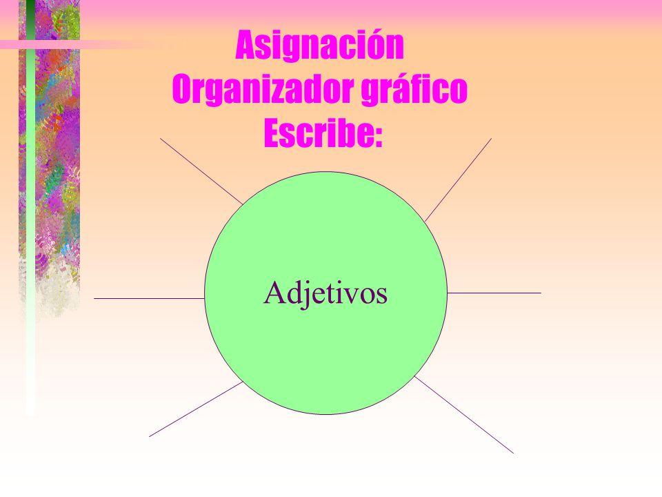 Asignación Organizador gráfico Escribe: Adjetivos