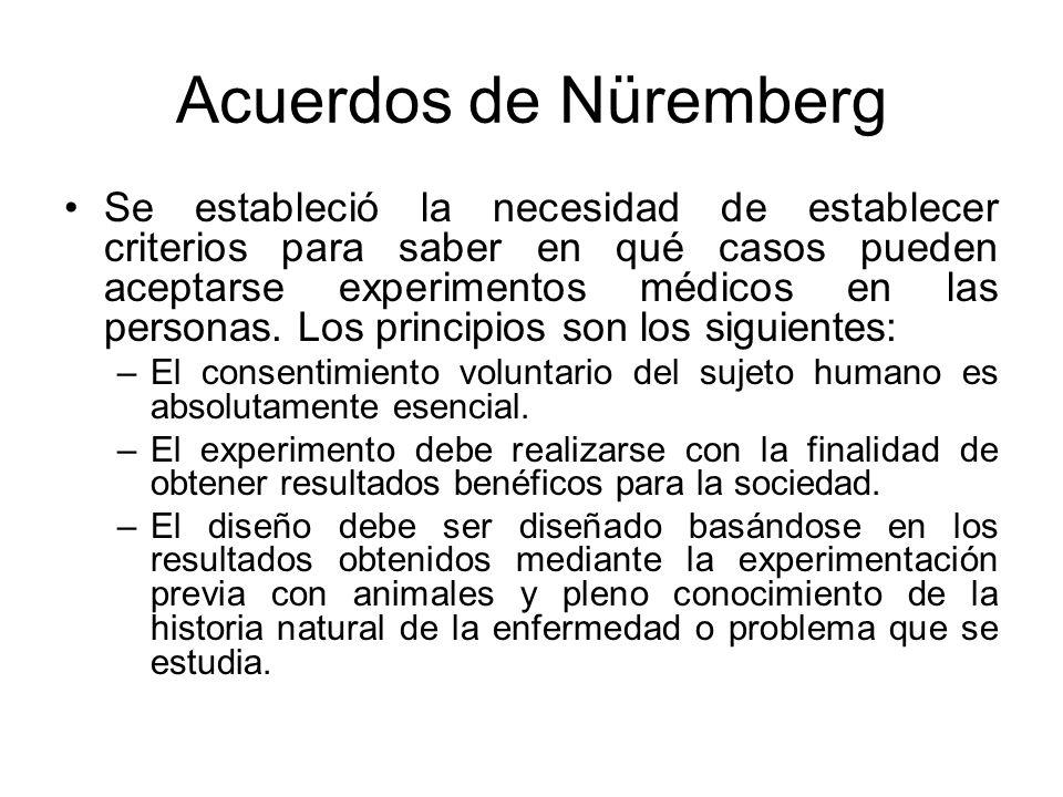 Acuerdos de Nüremberg Se estableció la necesidad de establecer criterios para saber en qué casos pueden aceptarse experimentos médicos en las personas