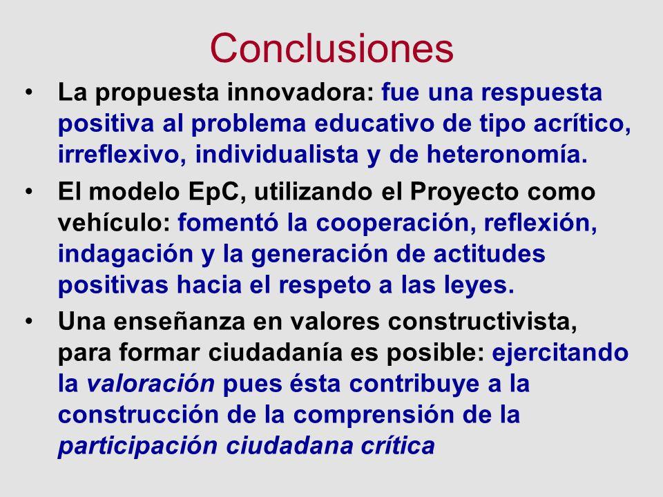 Conclusiones La propuesta innovadora: fue una respuesta positiva al problema educativo de tipo acrítico, irreflexivo, individualista y de heteronomía.