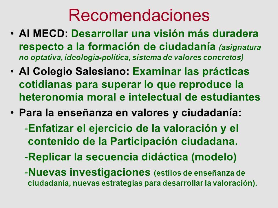 Recomendaciones Al MECD: Desarrollar una visión más duradera respecto a la formación de ciudadanía (asignatura no optativa, ideología-política, sistem