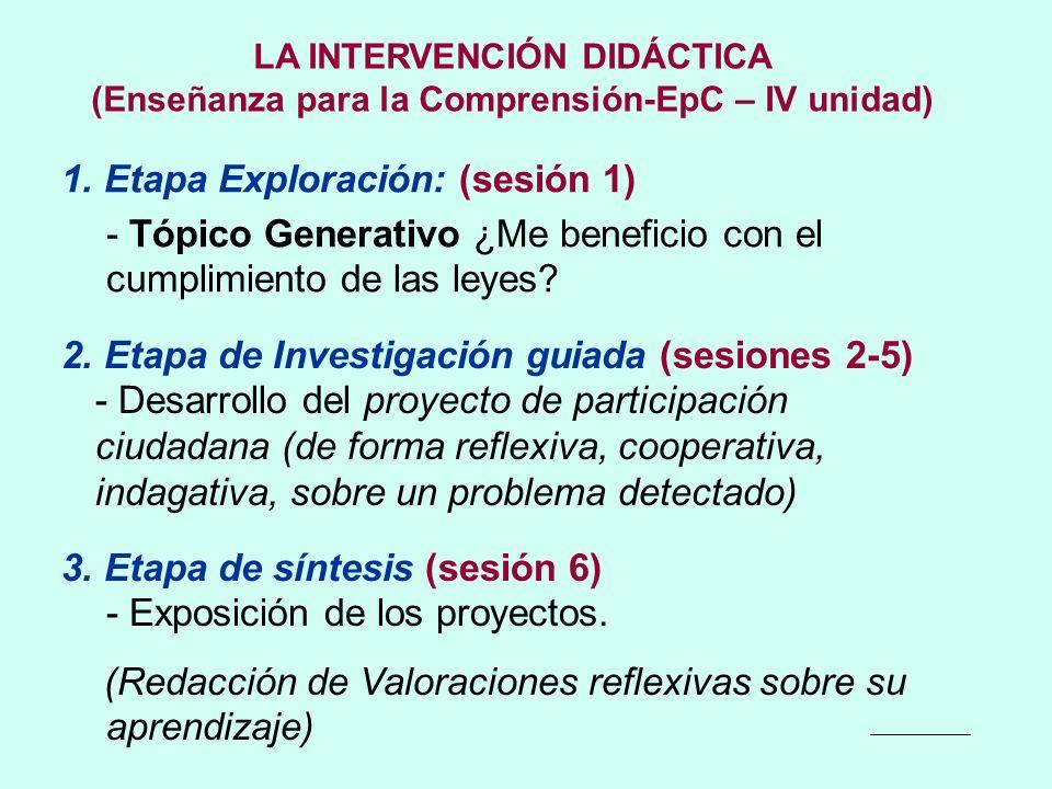 LA INTERVENCIÓN DIDÁCTICA (Enseñanza para la Comprensión-EpC – IV unidad) 1. Etapa Exploración: (sesión 1) - Tópico Generativo ¿Me beneficio con el cu