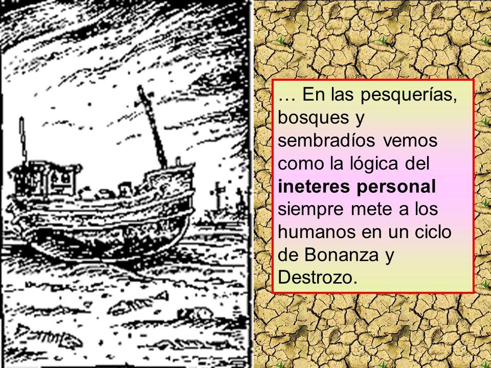 … En las pesquerías, bosques y sembradíos vemos como la lógica del ineteres personal siempre mete a los humanos en un ciclo de Bonanza y Destrozo.
