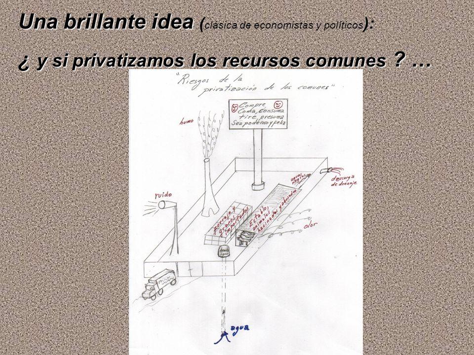 Una brillante idea Una brillante idea ( clásica de economistas y políticos ): ¿ y si privatizamos los recursos comunes ? …