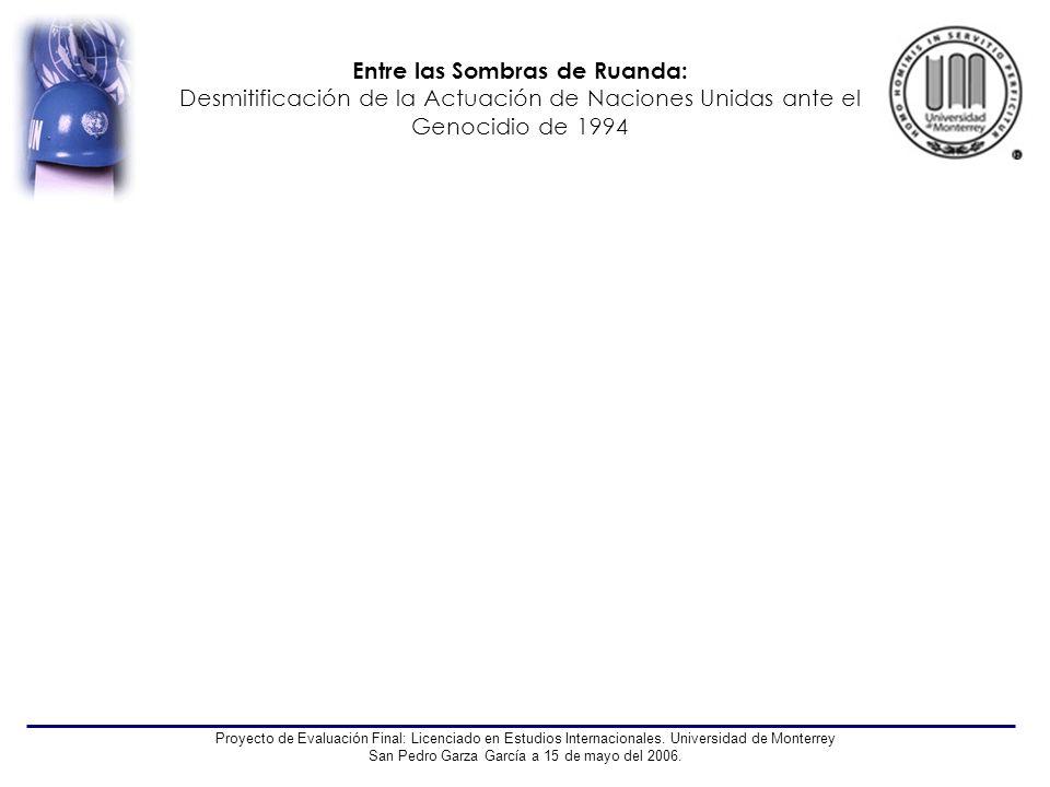 Entre las Sombras de Ruanda: Desmitificación de la Actuación de Naciones Unidas ante el Genocidio de 1994 Proyecto de Evaluación Final: Licenciado en