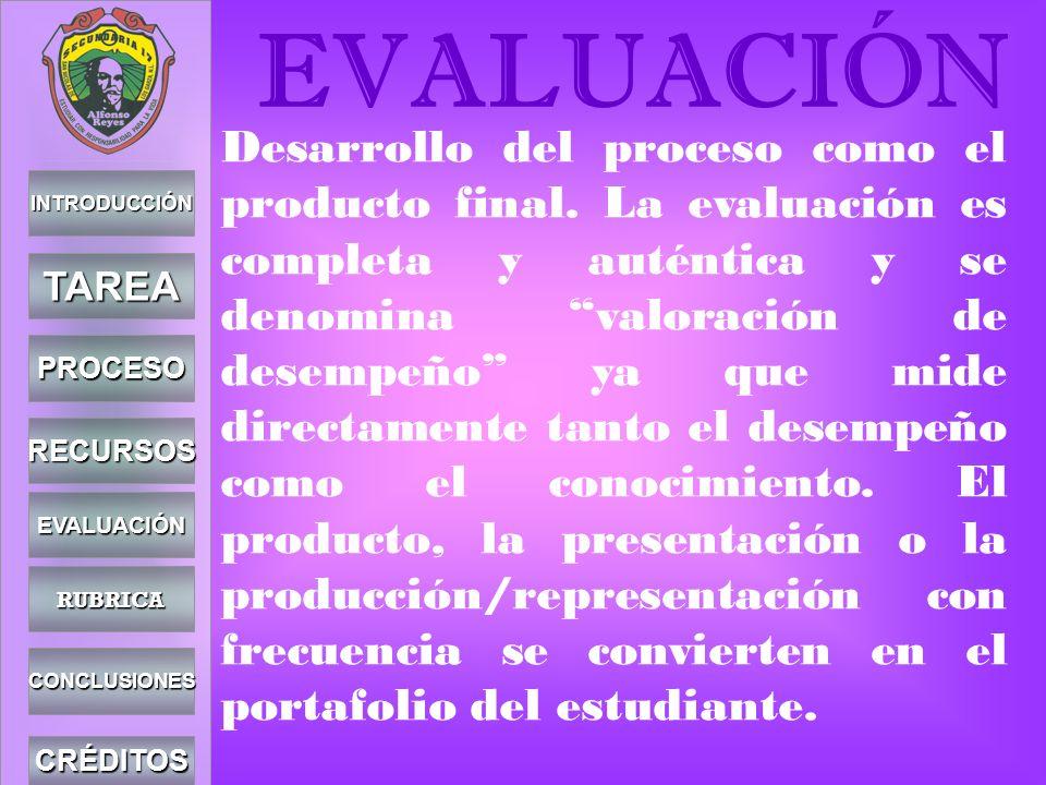 INTRODUCCIÓN TAREA PROCESO RECURSOS EVALUACIÓN CONCLUSIONES CRÉDITOS EVALUACIÓN Desarrollo del proceso como el producto final. La evaluación es comple