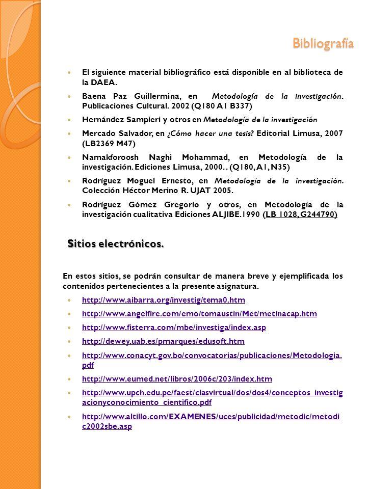 Bibliografía El siguiente material bibliográfico está disponible en al biblioteca de la DAEA. Baena Paz Guillermina, en Metodología de la investigació