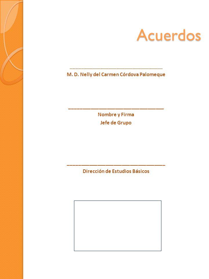 Acuerdos __________________________________ M. D. Nelly del Carmen Córdova Palomeque ___________________________________ Nombre y Firma Jefe de Grupo