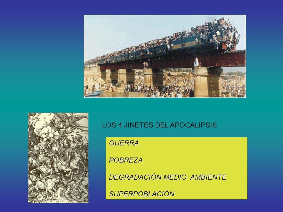 LOS 4 JINETES DEL APOCALIPSIS GUERRA POBREZA DEGRADACIÓN MEDIO AMBIENTE DEGRADACIÓN MEDIO AMBIENTE SUPERPOBLACIÓN