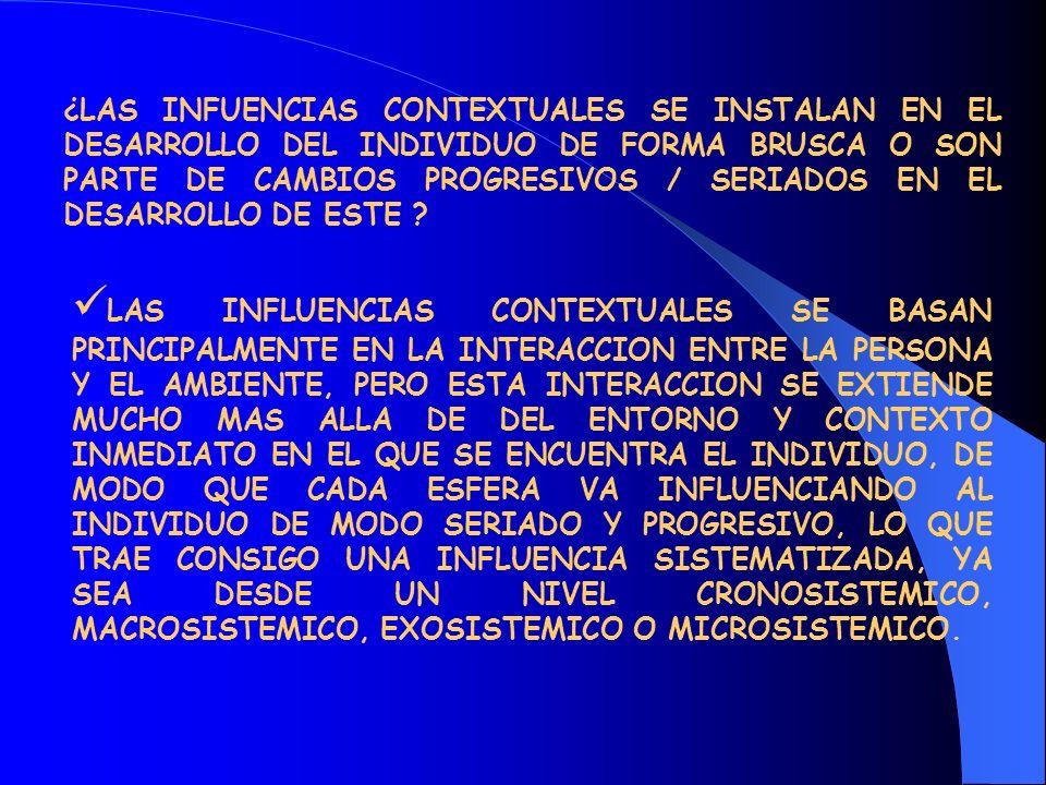 POR TANTO, NO PUEDE HABLARSE DE MEROS CAMBIOS BRUSCOS, YA QUE SI ASI FUESE NO TENDRIAN SENTIDO ALGUNO LAS ESFERAS DE CONTEXTOS (CRONOSISTEMICO-MACROSISTEMICO-EXOSISTEMICO- MICROSISTEMICO-MESOSTEMICO) QUE POSTULA EL ENFOQUE ECOSISTEMICO AL QUE HACEMOS REFERENCIA.