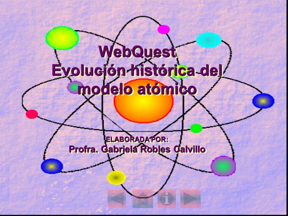 WebQuest Evolución histórica del modelo atómico ELABORADA POR: Profra. Gabriela Robles Calvillo