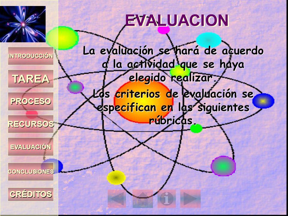 INTRODUCCIÓN TAREA PROCESO RECURSOS EVALUACIÓN CONCLUSIONES CRÉDITOS EVALUACION La evaluación se hará de acuerdo a la actividad que se haya elegido re
