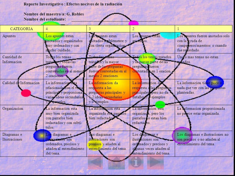 Reporte Investigativo : Efectos nocivos de la radiación Nombre del maestro/a: G. Robles Nombre del estudiante: _______________________________________