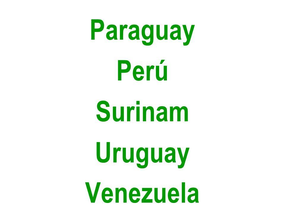 Paraguay Perú Surinam Uruguay Venezuela